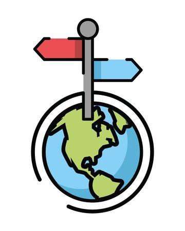 traffic arrow signal with world planet vector illustration design 向量圖像