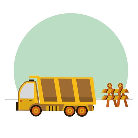 dump truck vehicle isolated icon vector illustration design