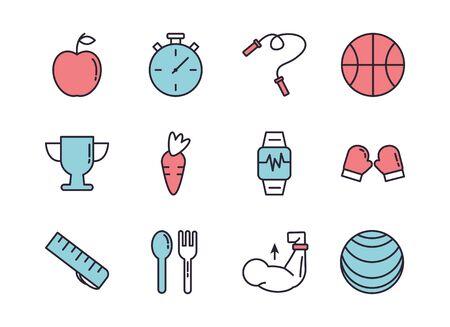 bundle of healthy lifestyle icons vector illustration design 向量圖像