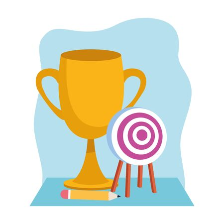 trophy cup and target icon over blue and white background, colorful design , vector illustration 向量圖像