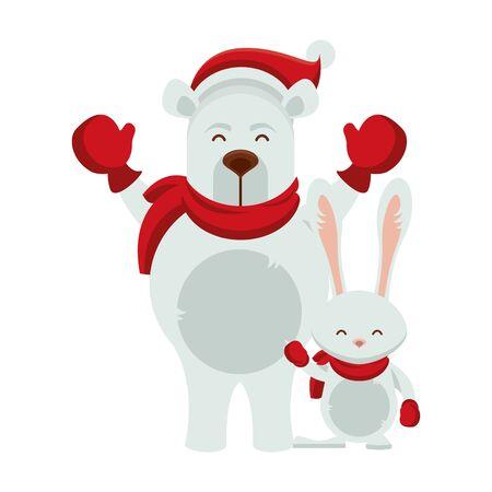 cute polar bear with rabbit character vector illustration design