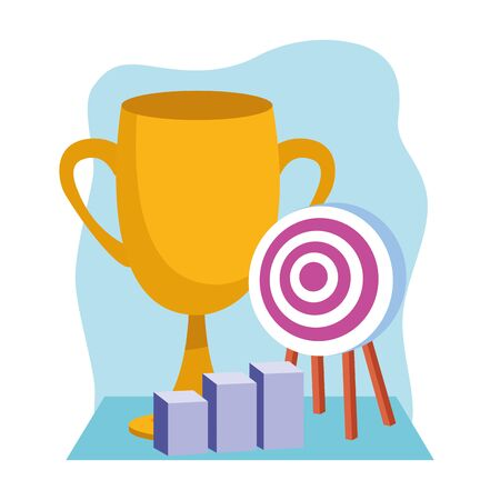 trophy cup with target and graphic bar chart over white and blue background, colorful design , vector illustration 向量圖像