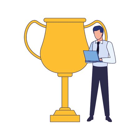 trophy cup and businessman standing icon over white background, vector illustration