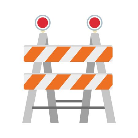 construction barrier icon over white background, vector illustration
