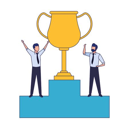 podium with big trophy and excited businessman icon over white background, vector illustration 向量圖像