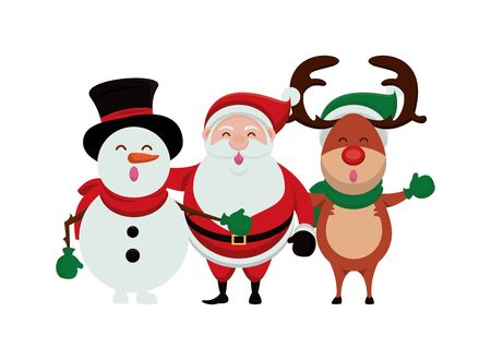 merry christmas santa claus and group characters vector illustration design Illustration