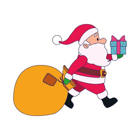 cartoon santa claus with gift box and big bag over white background, vector illustration