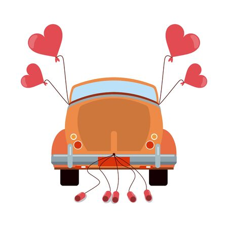 Wedding vintage car backward with cans vector illustration graphic design Illusztráció