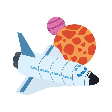 spaceship and planets icon over white background, vector illustration Vectores
