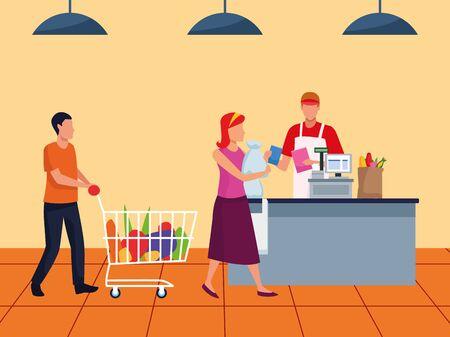 avatar customers at supermarket cash register, colorful design , vector illustration