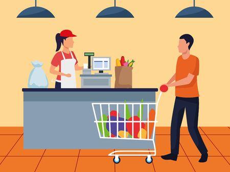 avatar man with full supermarket car at cash register, colorful design , vector illustration Ilustración de vector