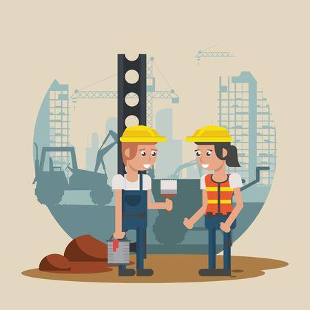 couple of builders working under construction scene vector illustration design Vektorové ilustrace