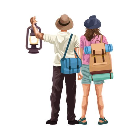 man and woman back with travel bags and lantern icon over white background, vector illustration