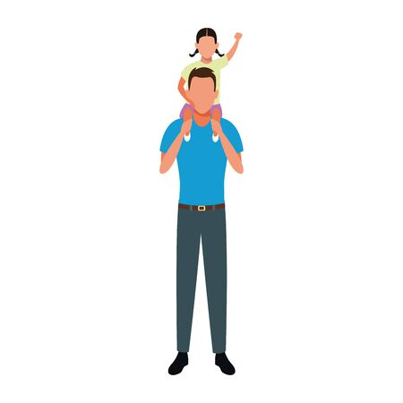avatar man with little girl in his shoulders over white background, vector illustration  イラスト・ベクター素材