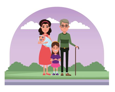 family avatar grandfather with glasses and cane and mother with bandana holding a baby next to a child profile picture cartoon