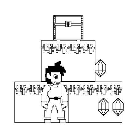 videogame pixelated retro art digital entertainment, arcade character play mode cartoon vector illustration graphic design