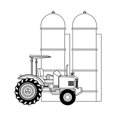farm truck and granary over white background, vector illustration