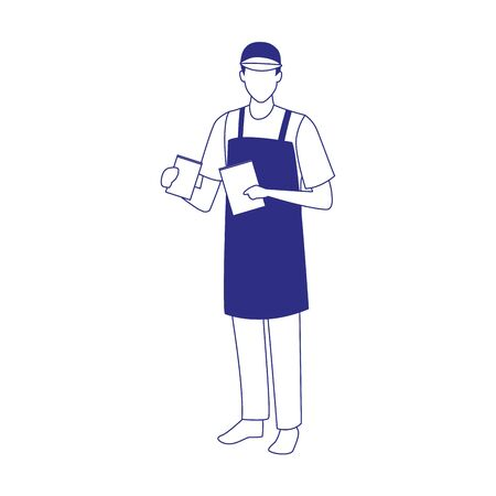 avatar man with apron and cap over white background, vector illustration Ilustración de vector