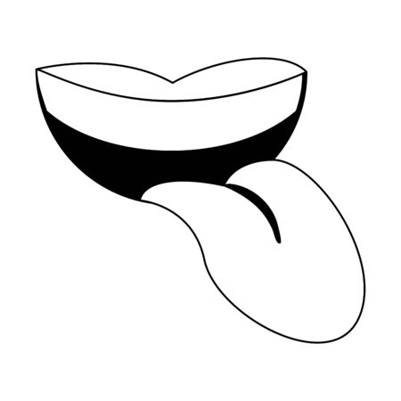 Mouth with tongue out cartoon isolated Designe