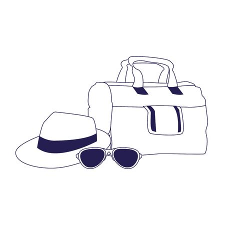 travel handbag with hat and sunglasses icon over white background, vector illustration