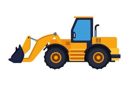 Conception graphique d'illustration vectorielle de machine de pelle rétro de véhicule de construction