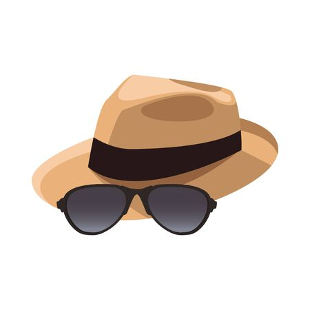 hat and sunglasses icon over white background, vector illustration