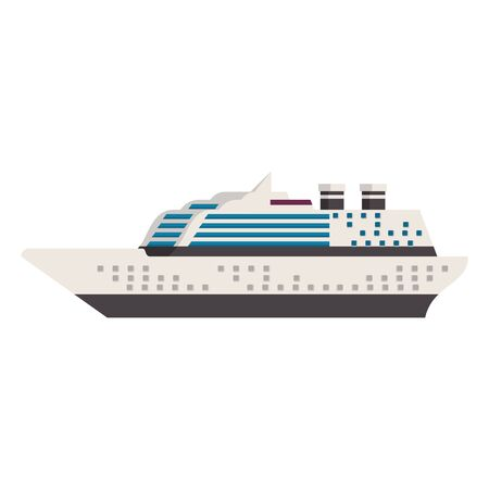 Cruise ship boat sideview isolated