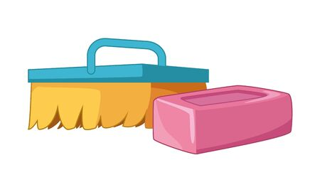 cleaning and hygiene equipment scrub brush, soap bar icon cartoon vector illustration graphic design