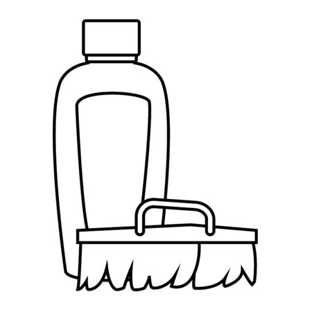 cleaning and hygiene equipment cleaning shampoo, scrub brush icon cartoon in black and white vector illustration graphic design