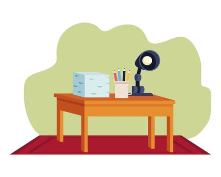 Office workplace elements desk with documents piled pencils and light lamp cartoons ,vector illustration graphic design.