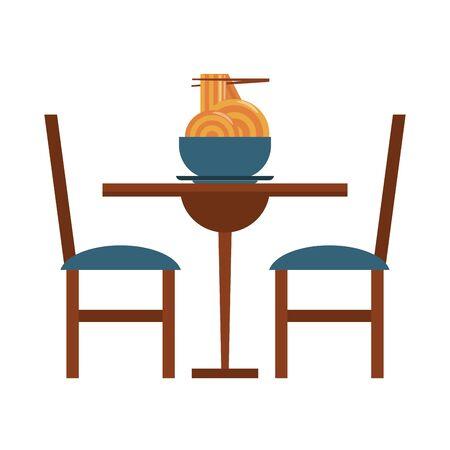 nourriture et cuisine de restaurant nourriture chinoise et spaguetti avec baguettes sur une icône de table de restaurant dessins animés illustration vectorielle conception graphique Vecteurs