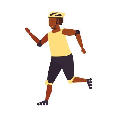 Afroamerican man riding in skates isolated cartoon vector illustration graphic design Vecteurs