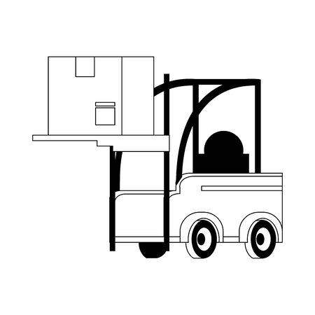Forklift with delivery box isolated symbol vector illustration Ilustração