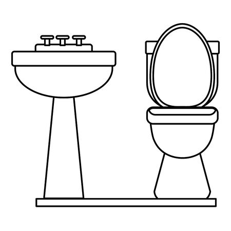 handwashing and toilet icon cartoon in black and white vector illustration graphic design Vectores