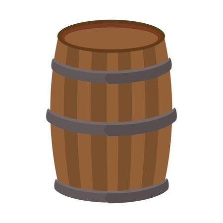 wooden barrel icon over white background, vector illustration Standard-Bild - 135913610