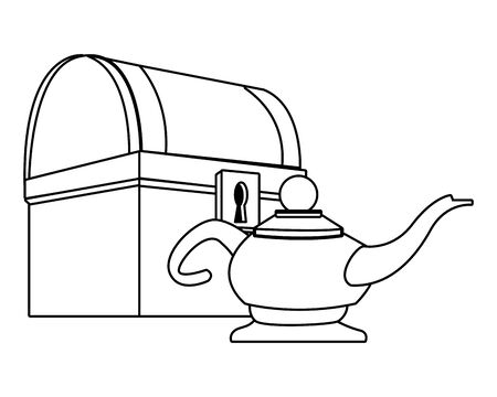 Antike Holzkiste und magische Lampe Vektor-Illustration Grafikdesign
