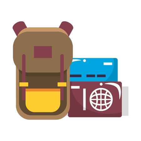 trip around the world symbols with backpack passport and travel itinerary isolated symbol Vector design illustration Vectores