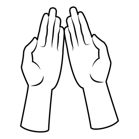 hands open facing in front icon cartoon isolated black and white vector illustration graphic design  イラスト・ベクター素材