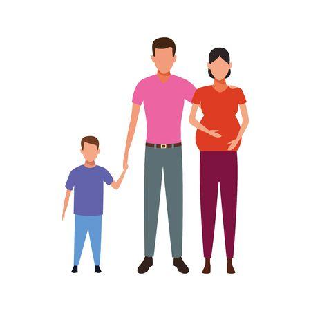 avatar pregnant woman with man and little boy over white background, vector illustration Vektoros illusztráció