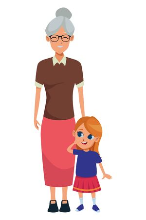 Family grandmother taking care of granddaughter vector illustration graphic design 일러스트