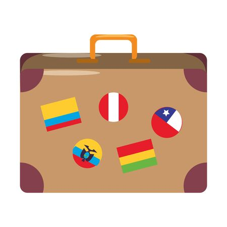 Travel suitcase with stamps cartoon isolated vector illustration graphic design Vecteurs