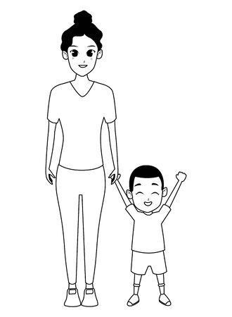 Single afro mother with children son cartoon vector illustration graphic design