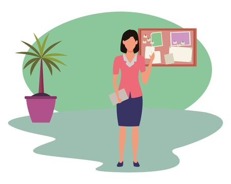 Executive businesswoman greeting and holding document in the office with corkboard and plant pot ,vector illustration graphic design.