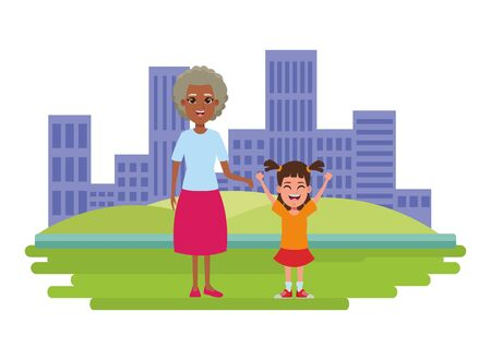 family avatar afroamerican grandmother next to a child profile picture cartoon character portrait over the grass with building and skyscraper cityscape vector illustration graphic design