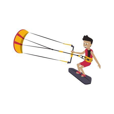 Kitesurfing man on surf table water extreme sport vector illustration graphic design