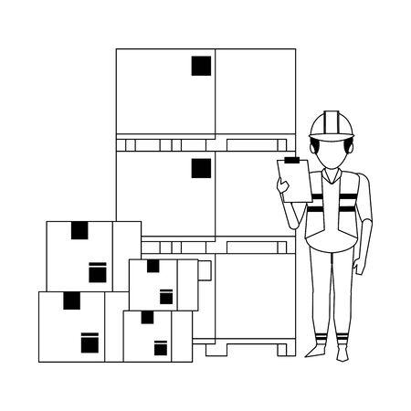 Warehouse worker with pallets and boxes vector illustration Illusztráció