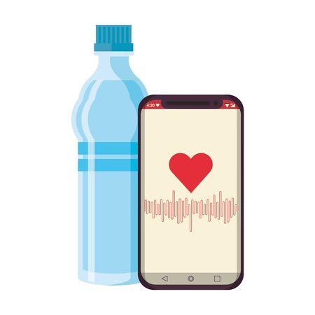 Equipo de fitness entrenamiento salud y agua frasco smarthphone con símbolos de la aplicación de salud ilustración vectorial diseño gráfico