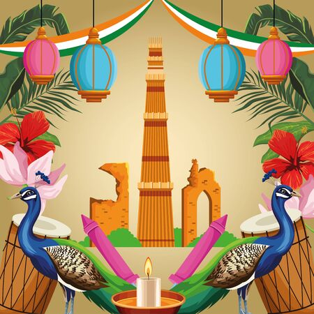 India national monument with peacock, drums, candle and fireworks. India tourism and architecture. vector illustration graphic design Ilustração