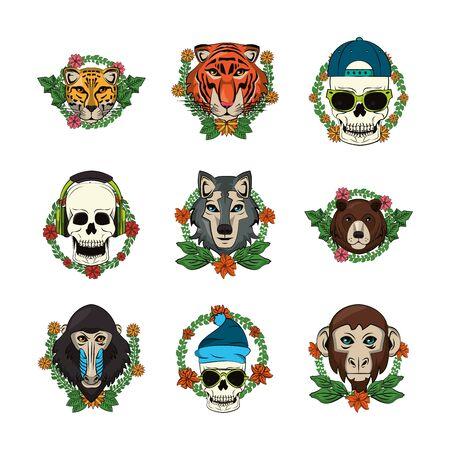 bundle of emblems animals and skulls vector illustration design 矢量图像