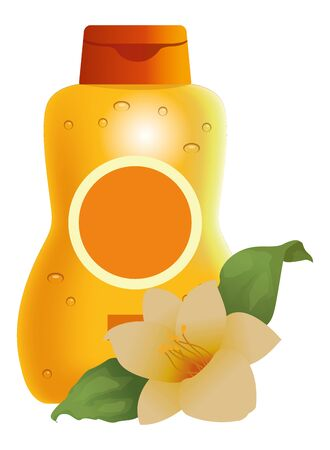 Sun bronzer product with tropical flower cosmetic product ,vector illustration graphic design.